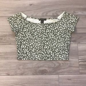 Green & White Flower Fitted Crop Top